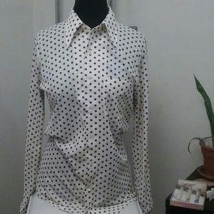 Vintage Mens Cream and Brown Polkadot Button Up
